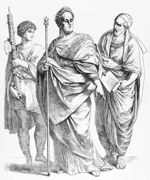 Three Roman men wearing traditional clothing, circa...
