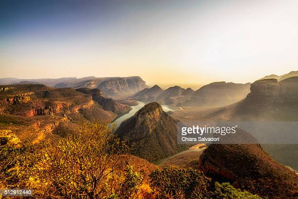 three rondavels in the blyde river canyon - mpumalanga province stock pictures, royalty-free photos & images