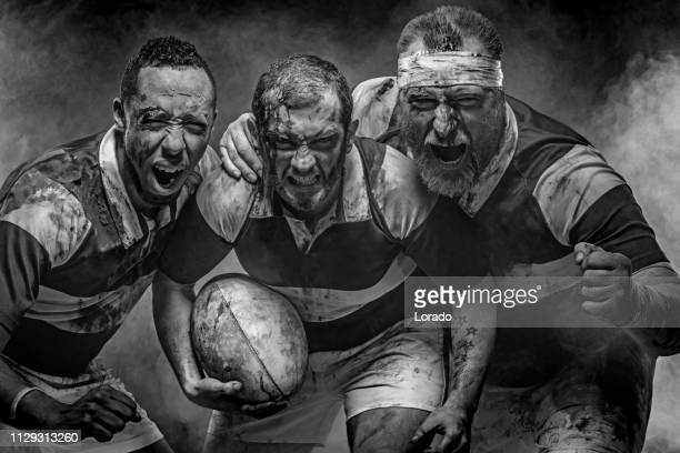 three rugby players - rugby team stock pictures, royalty-free photos & images