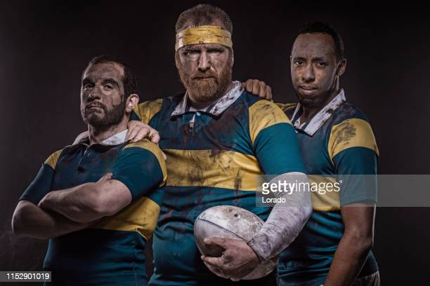 three rugby players - rugby stock pictures, royalty-free photos & images