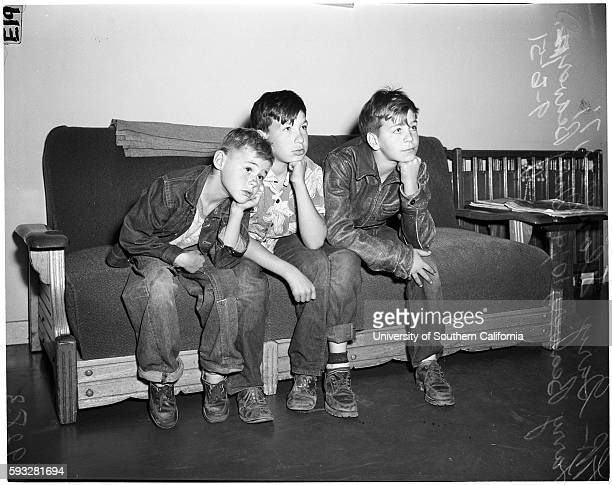 Three runaway boys Gary Flowers 7 years Larry Beaver 10 years Gary Beaver 12 years bound for the mountains to live a primitive life and feast on deer...
