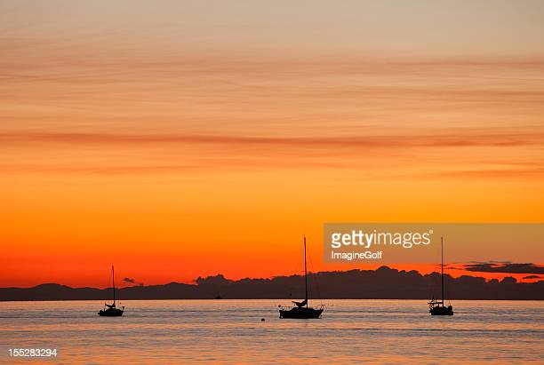 three sailboats at harbor with an orange sunset background. - english bay stock photos and pictures