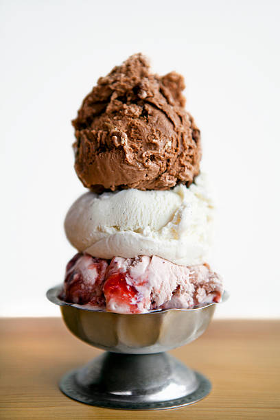 Three scoops of ice cream in a pewter dish