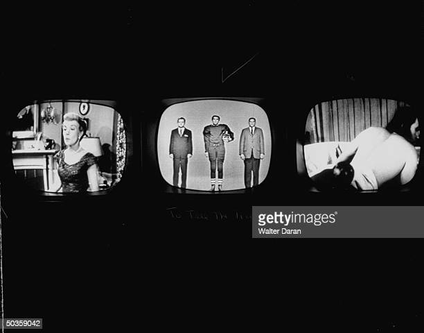 Three screens showing different TV programs actress Gale Storm appearing in The Gale Storm Show contestant on To Tell the Truth and unidentified...