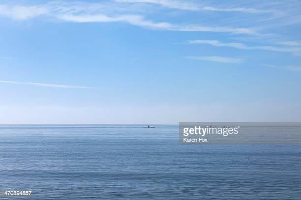 Three sea kayakers on horizon, Poole, Dorset, UK