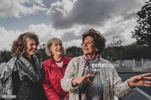 three senior ladies cheerfully talking - storyteller stock pictures, royalty-free photos & images