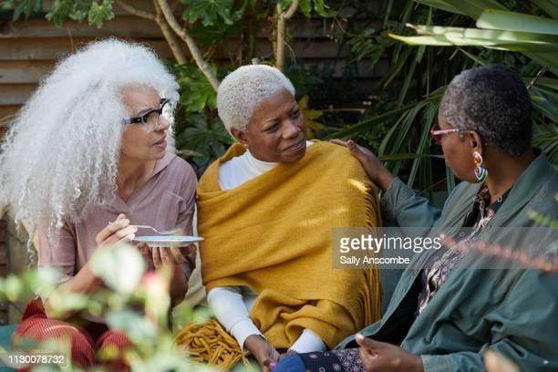 Three Senior Women in the garden