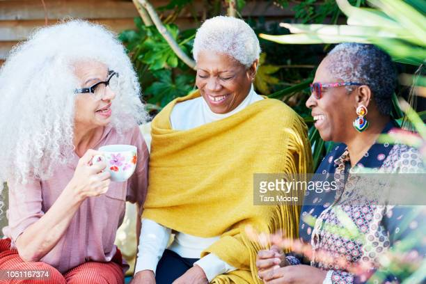 three senior women talking in garden - female friendship stock pictures, royalty-free photos & images