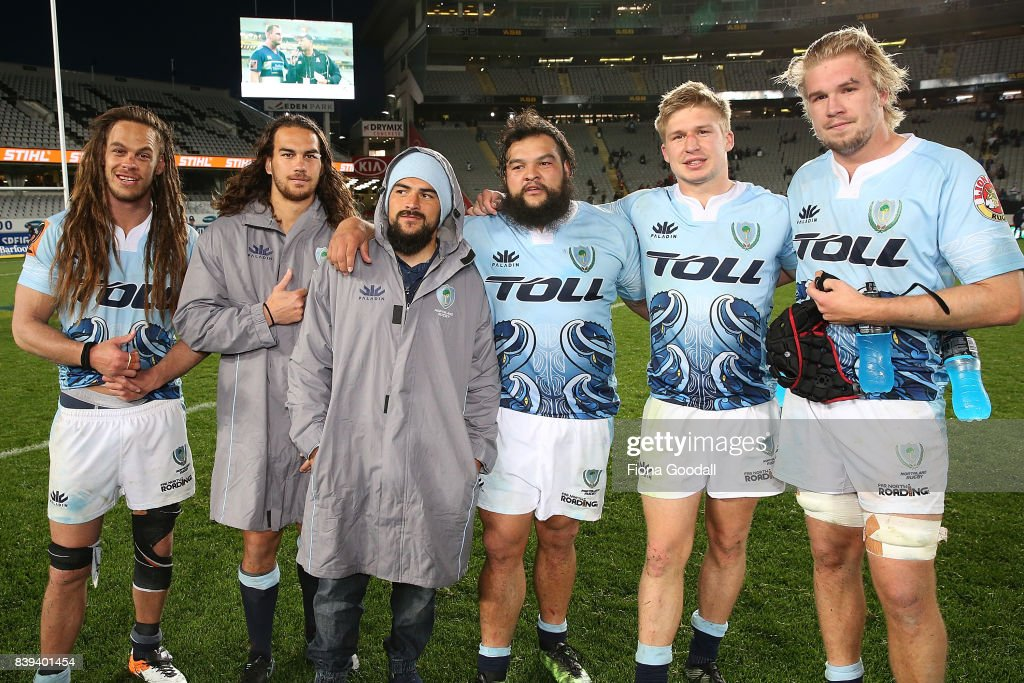 Three sets of brothers played for Northland including Dan Pryor (L) and Kara Pryor (CL), Jack Goodhue (CR) and Joshua Goodhue (R) and Matt Wright (C) and brother Ross Wright (on his right) during the round two Mitre 10 Cup match between Auckland and Northland at Eden Park on August 26, 2017 in Auckland, New Zealand.