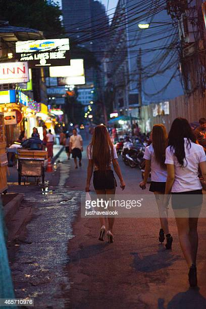 three sexy thai ladyboys - ladyboys of bangkok stock photos and pictures