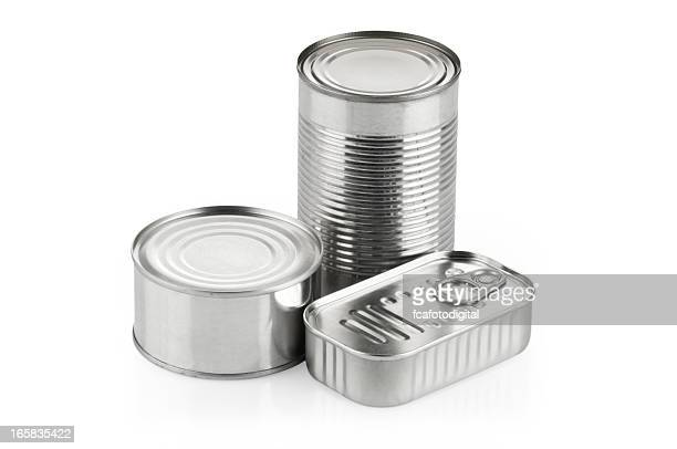 Three silver cans of different shapes and sizes
