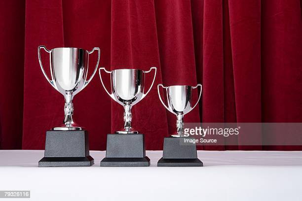 Three silver trophies