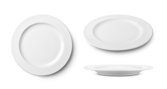 Three simple white ceramic plate with clipping path. 1086247498