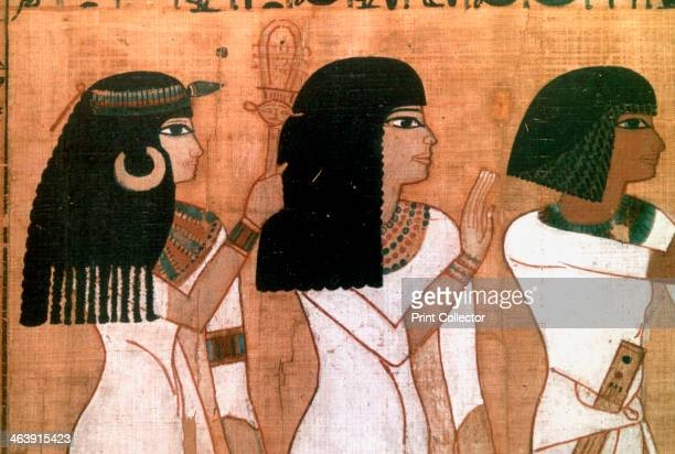Three sisters detail from an Ancient Egyptian mural Located in the Louvre Paris