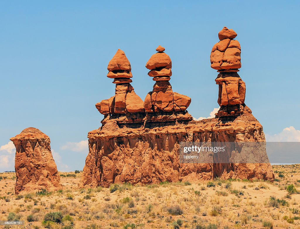 Three Sisters Hoodoos Goblin Valley State Park Utah : Stock Photo