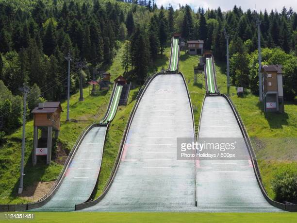 Three Ski Jump Launching Pads In Town Of Szczyrk In Poland