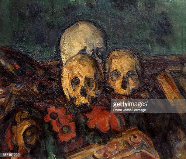 Three skulls on an oriental rug Painting by Paul Cezanne 1898 Kunstmuseum Solothurn Switzerland
