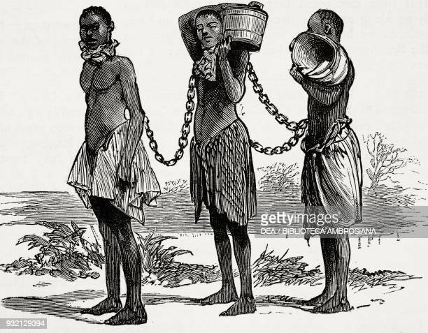 Three slaves in irons for misconduct Kabenda Zambia illustration from The Graphic volume XXVIII no 712 July 21 1883