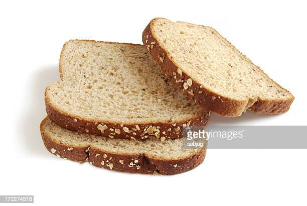 Three slices of bread stacked on top of each other