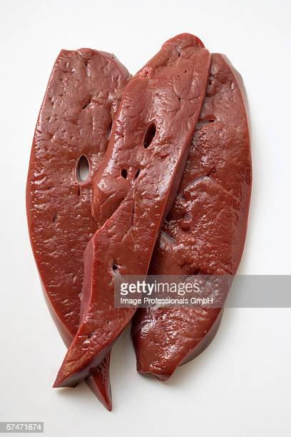 Three slices of calf's liver