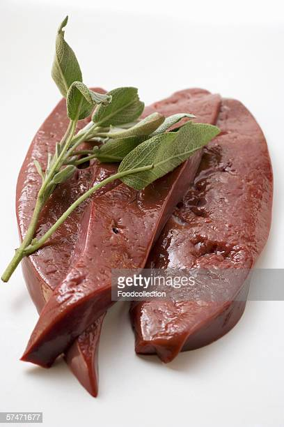 Three slices of calf's liver with sage