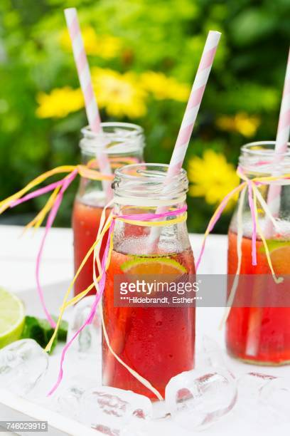 Three small bottles of iced tea with lime, peppermint and ice cubes on a garden table