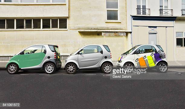 Three SMART Cars Parked Together in Paris