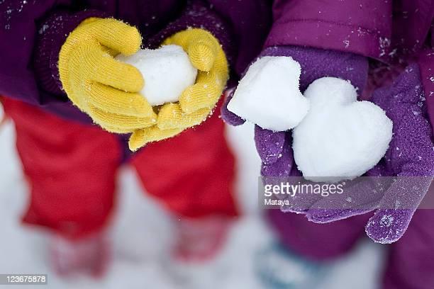 Three snow hearts