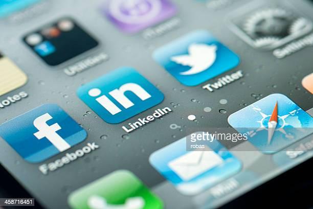 Trois icônes de médias sociaux plat pour iPhone
