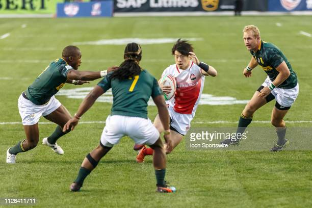 Three South Africa players converge on Japan player during Match South Africa 7s vs Japan 7s in Pool C matchup at the USA Rugby Sevens on March 1 at...