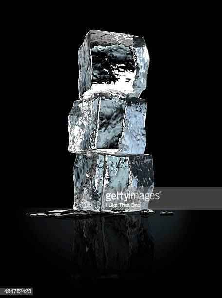 three stacked ice cubes - atomic imagery stock pictures, royalty-free photos & images