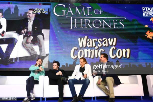 Three stars of Game of Thrones serial Vladimir Furdik Gemma Whelan and Daniel Portman attend the Warsaw Comic Con