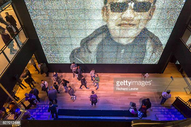 Three story tall video screen in the Samsung 837 showroom in the Meatpacking District in New York, seen on Saturday, February 27, 2016. The showroom...