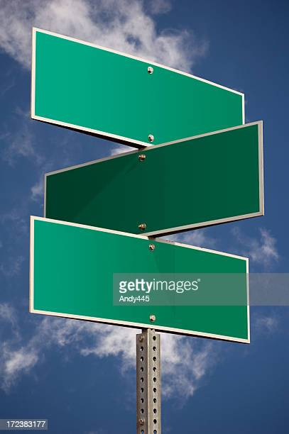 three street signs - three objects stock pictures, royalty-free photos & images