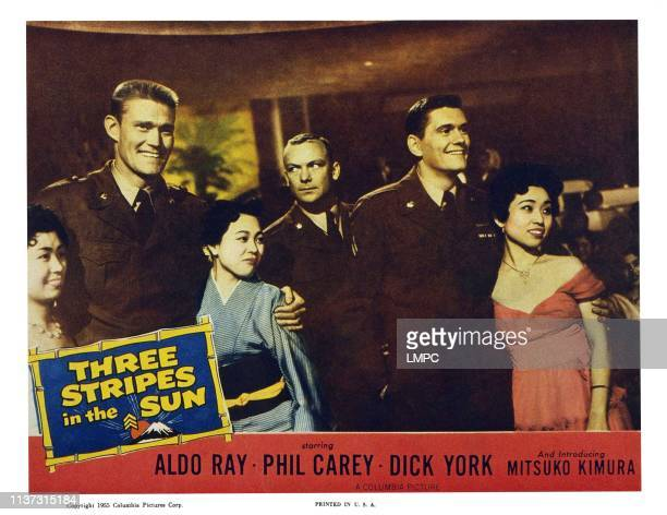 Three Stripes In The Sun US lobbycard men from left Chuck Connors Aldo Ray Dick York 1955