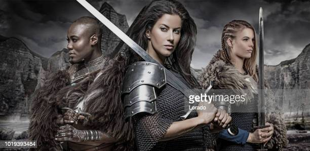 three strong viking women - princess stock pictures, royalty-free photos & images