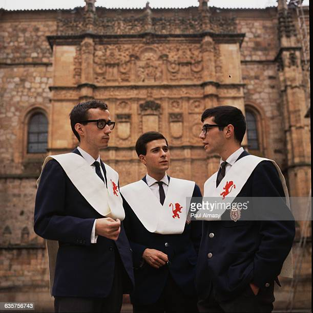 Three students dressed in traditional formal attire at the University of Salamanca established 1529 it is the oldest university in Spain | Location...
