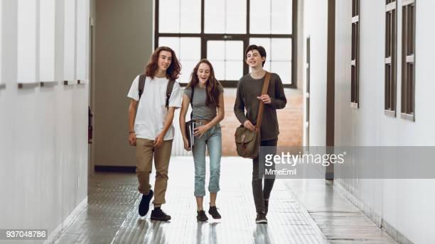 tre studenti che hanno discusso e camminato per il corridoio a scuola - three people foto e immagini stock