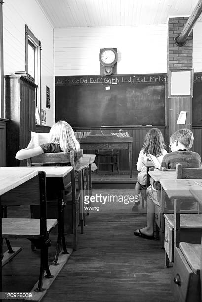 Three Students in Retro- aged School