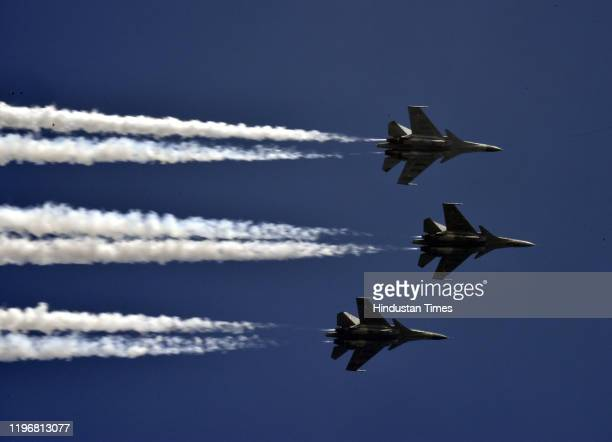 Three Su30 MKIs of the Indian Air Force execute the Trishul manoevre as they fly over Rajpath during the Republic Day parade on January 26 2020 in...