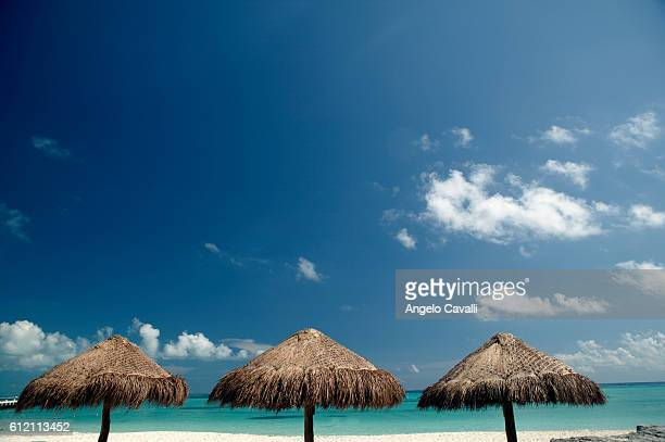 Three Sunshades on the Beach, Cancun, Mexico