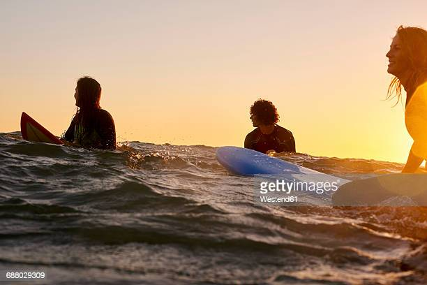 Three surfers in the sea at sunset