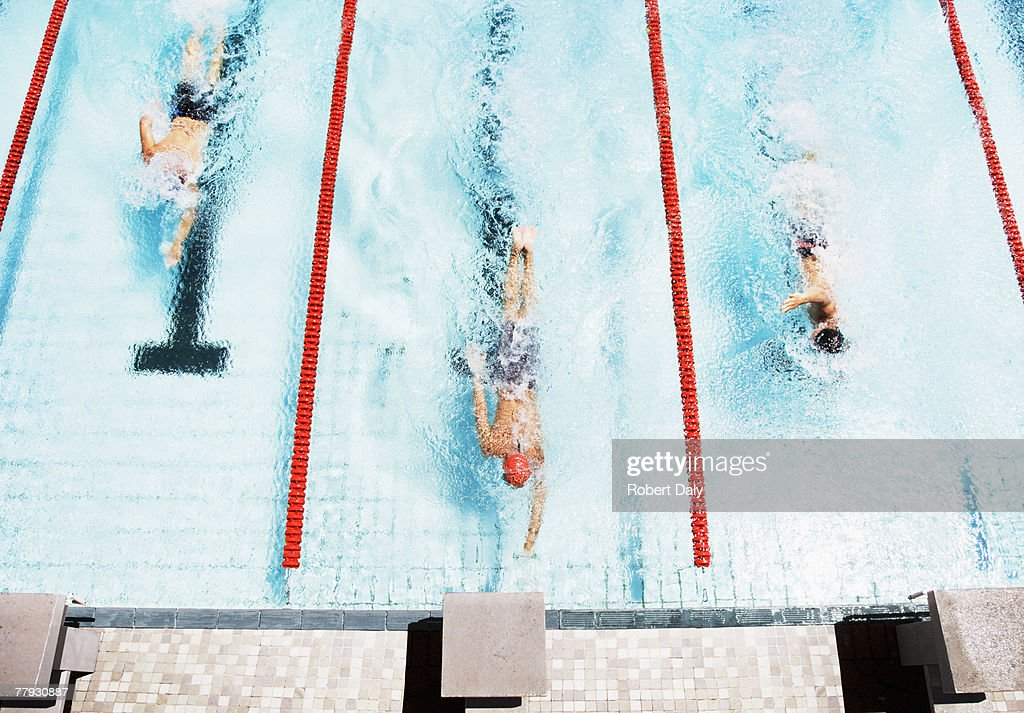 Three swimmers coming to ledge of pool : Stock Photo