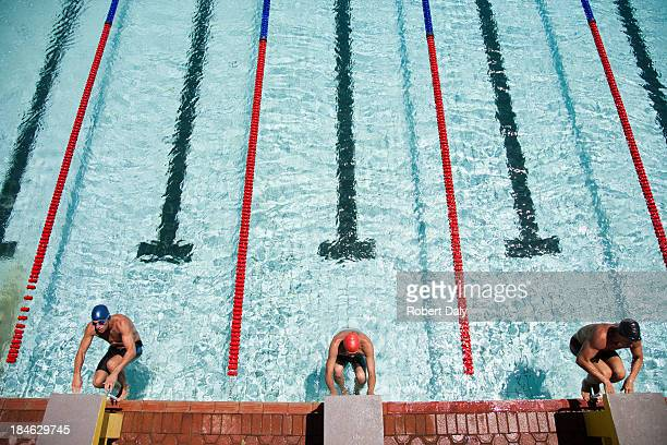 three swimmers swimming in a pool - length stock pictures, royalty-free photos & images
