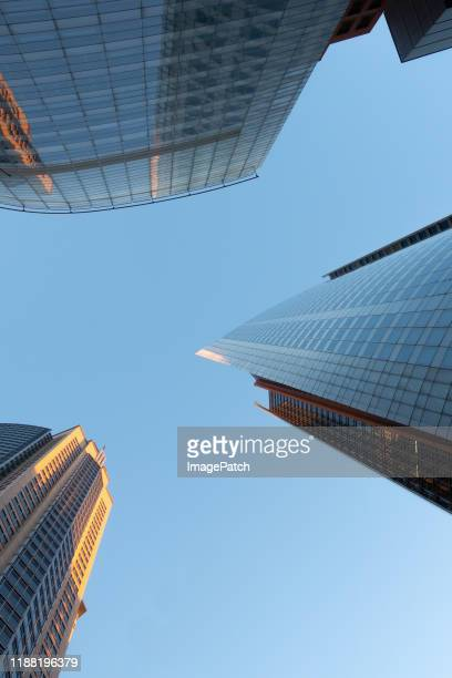 three sydney office towers viewed in the evening light - tower stock pictures, royalty-free photos & images