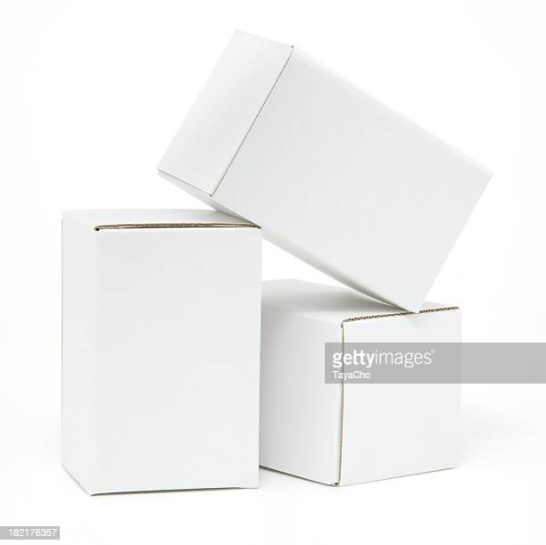 Three tall white cartons isolated