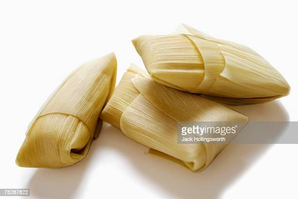 Three tamales, close-up