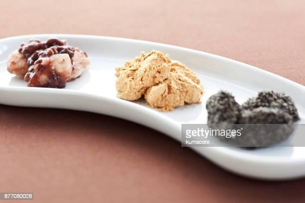 Three taste rice cakes on plate