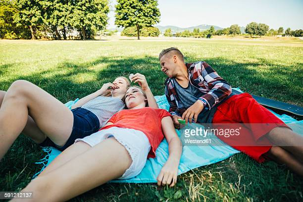 Three teenage friends relaxing in meadow