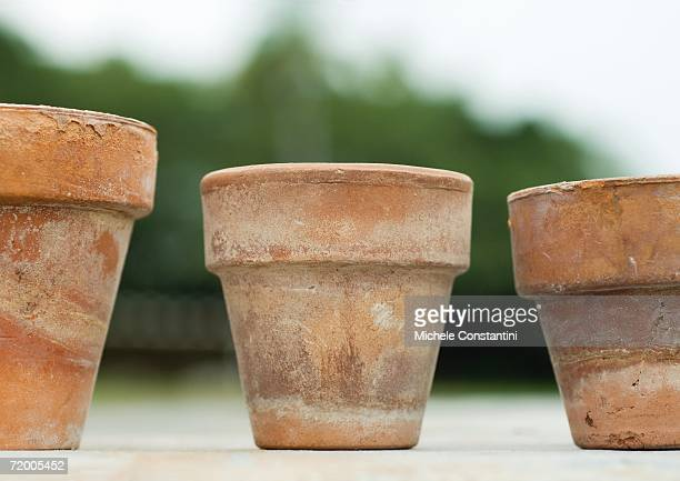 three terracotta pots - terracotta stock pictures, royalty-free photos & images